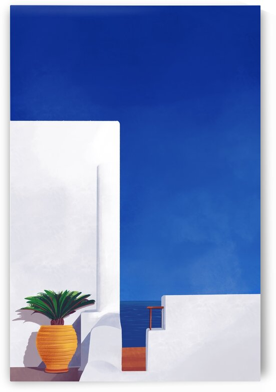 Beyond the White Wall - Santorini  Greece by Cosmic Soup