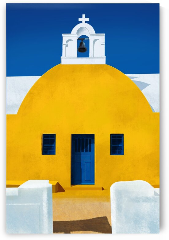Mellow Yellow Chapel - Santorini  Greece by Cosmic Soup
