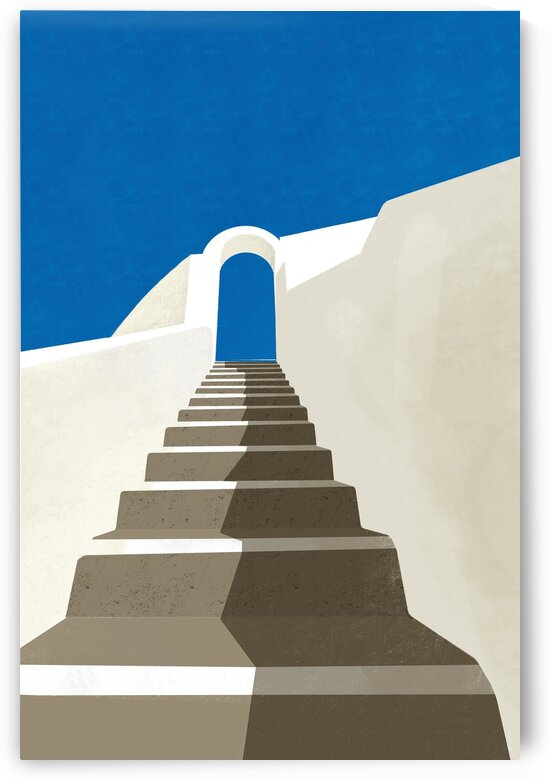 Stairs to the Sky - Santorini  Greece by Cosmic Soup