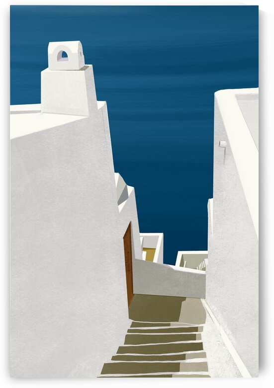 Steps to the Aegean - Santorini  Greece by Cosmic Soup