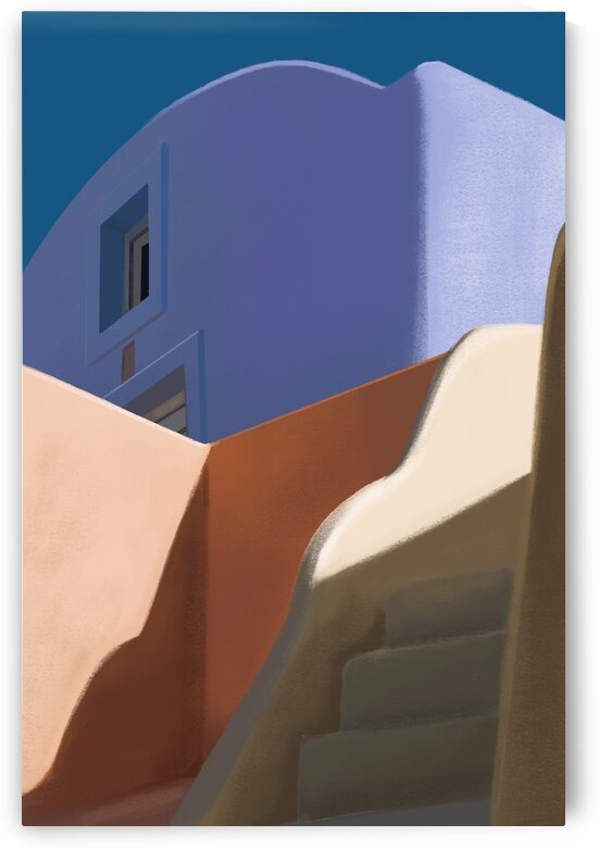 Pastel Streetscape - Santorini - Greece by Cosmic Soup