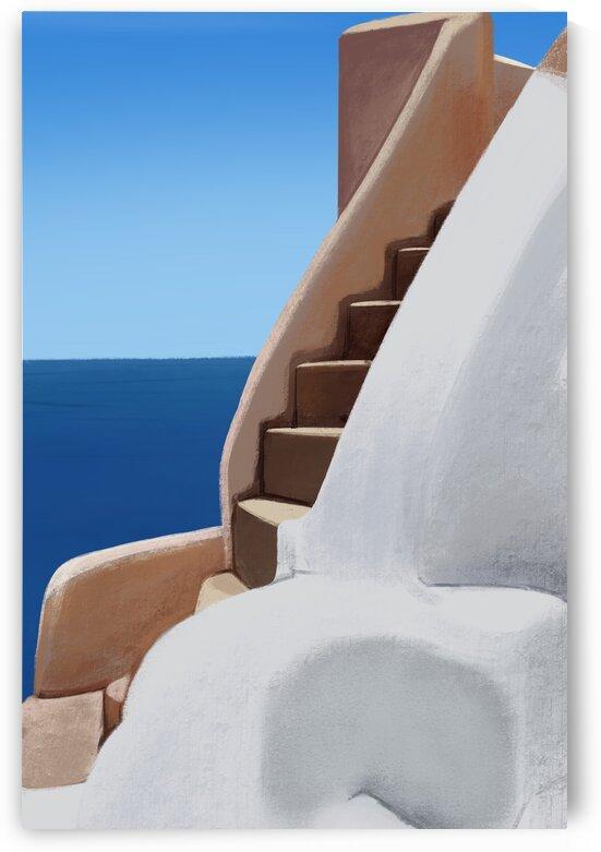To The Secret Balcony - Santorini - Greece by Cosmic Soup