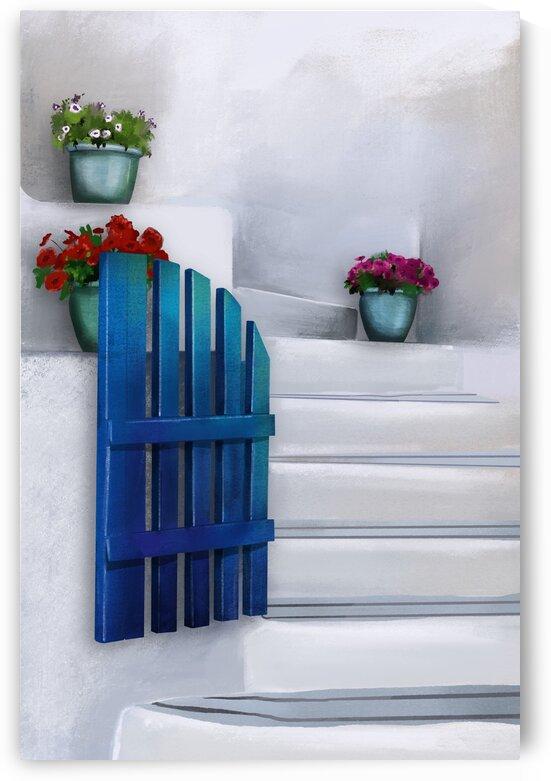 The Little Blue Gate - Santorini - Greece by Cosmic Soup