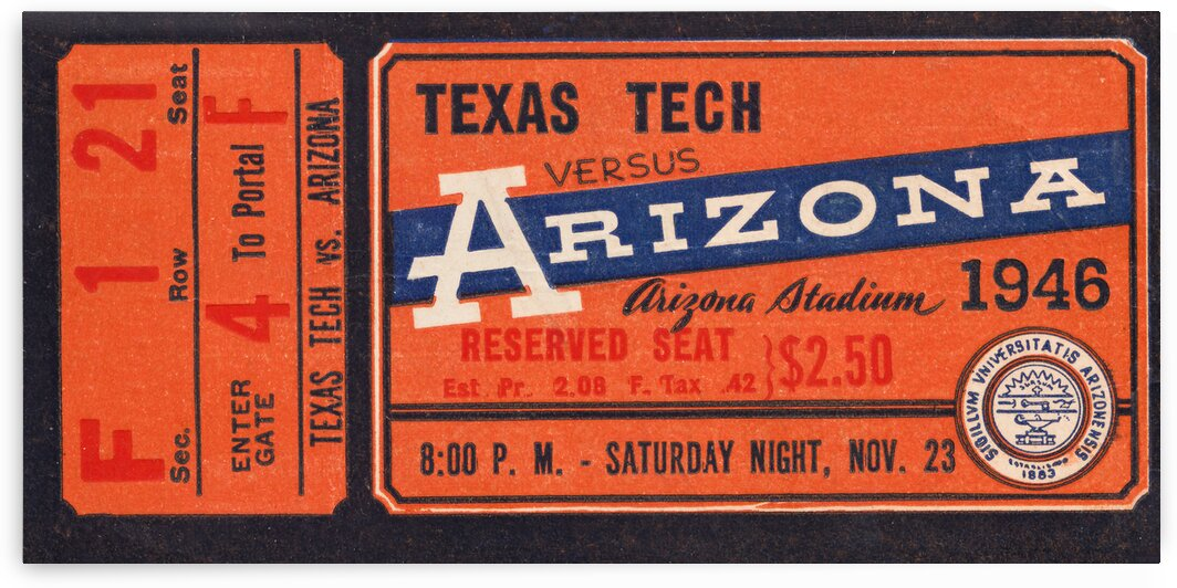 1946 Texas Tech vs. Arizona Football Ticket Stub Art by Row One Brand