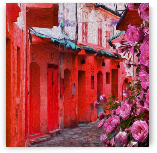 A bush of pink roses on the background of an old street with bright houses. by Ievgeniia Bidiuk
