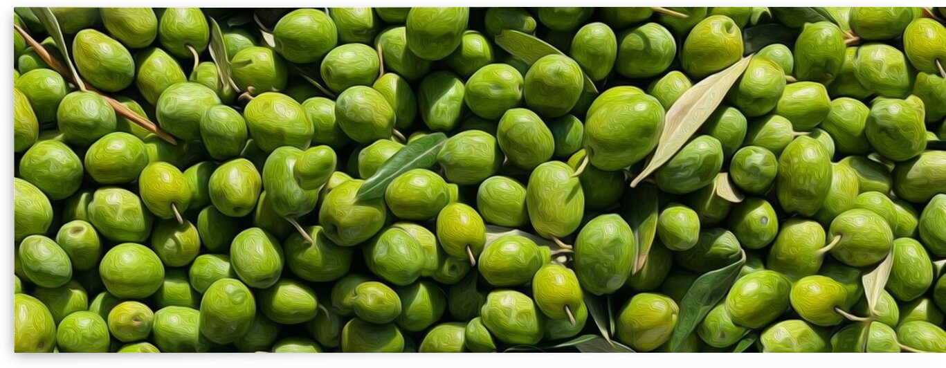 Background from fresh green olives with leaves. by Ievgeniia Bidiuk