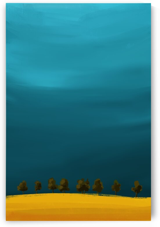 Waiting on the Horizon - Minimal Landscape Painting by Cosmic Soup