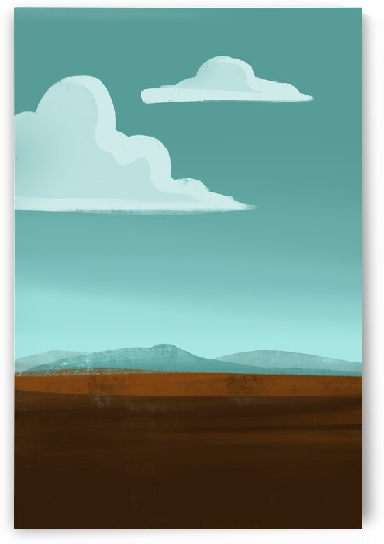 Traveling Clouds - Minimal Landscape Painting by Cosmic Soup