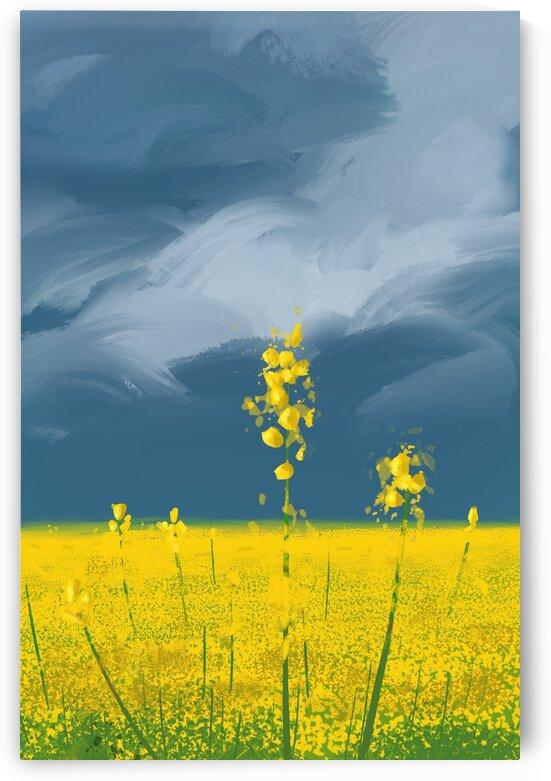 Stay Golden - Minimal Poetic Landscape by Cosmic Soup