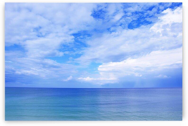 Seascape Blue Sky with Clouds Sea  by Kikkia Jackson