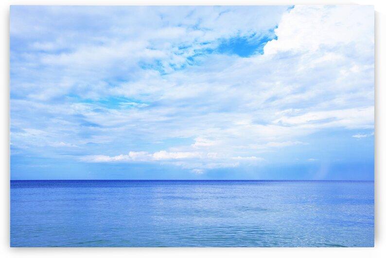 Seascape Blue Sky with Clouds by Kikkia Jackson