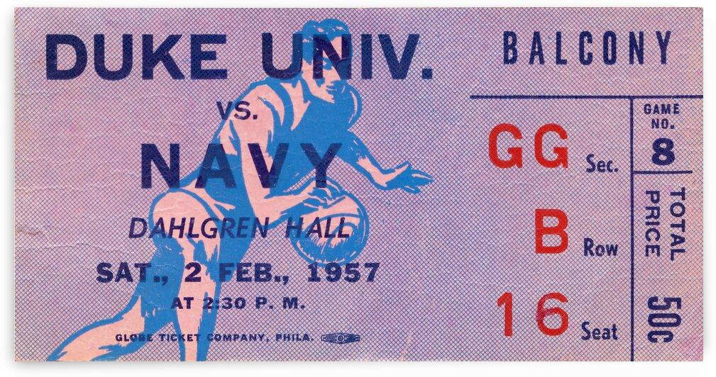 1957 Duke vs. Navy Basketball Ticket Art by Row One Brand