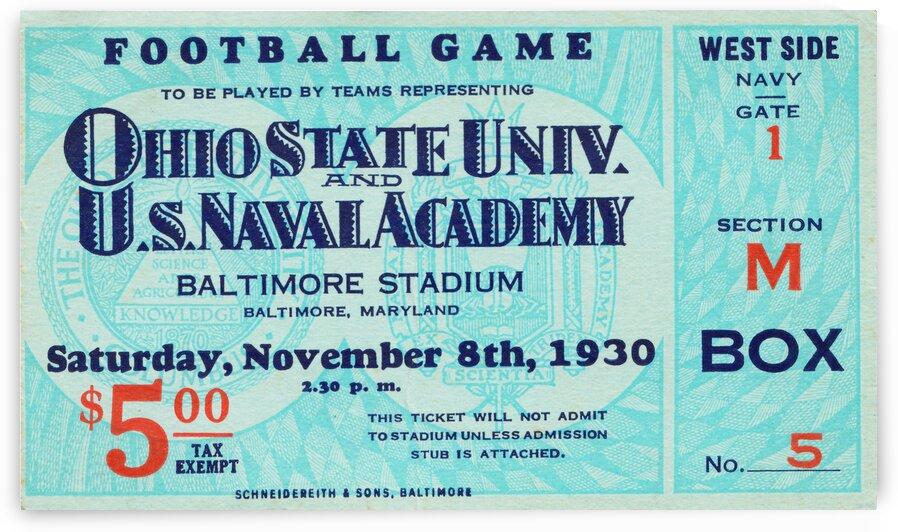 1930 Ohio State vs. Navy Football Ticket Art by Row One Brand
