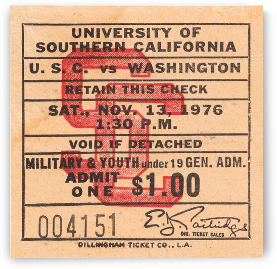 1976 USC Trojans Football Ticket Art by Row One Brand