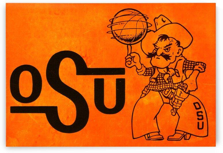 1985 Oklahoma State OSU Cowboys Pistol Pete Basketball Art by Row One Brand