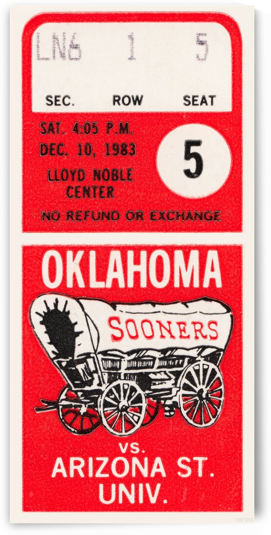 1983 OU Sooners Basketball Ticket Art by Row One Brand