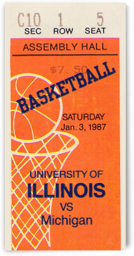 1987 Illinois vs. Michigan Basketball Ticket Stub Art by Row One Brand