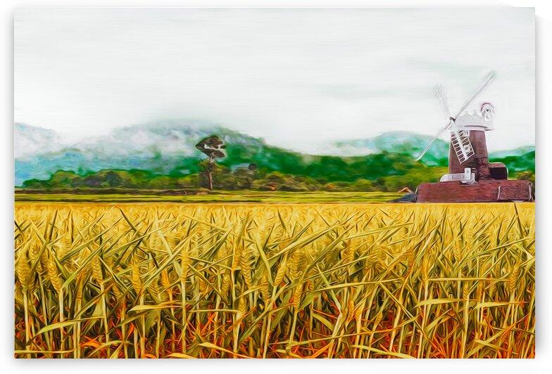 Ripe ears of bread on the background of the mill. by Ievgeniia Bidiuk