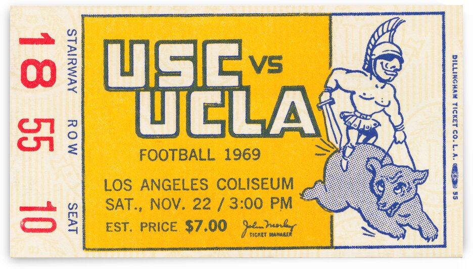 1969 USC vs. UCLA Football Ticket Art by Row One Brand