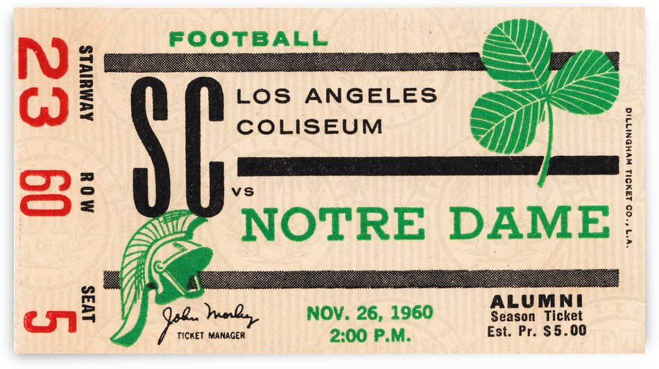 1960 Notre Dame vs. USC Football Ticket Art by Row One Brand