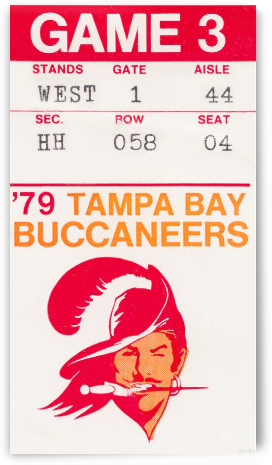 1979 Tampa Bay Buccaneers Ticket Stub Art Poster by Row One Brand