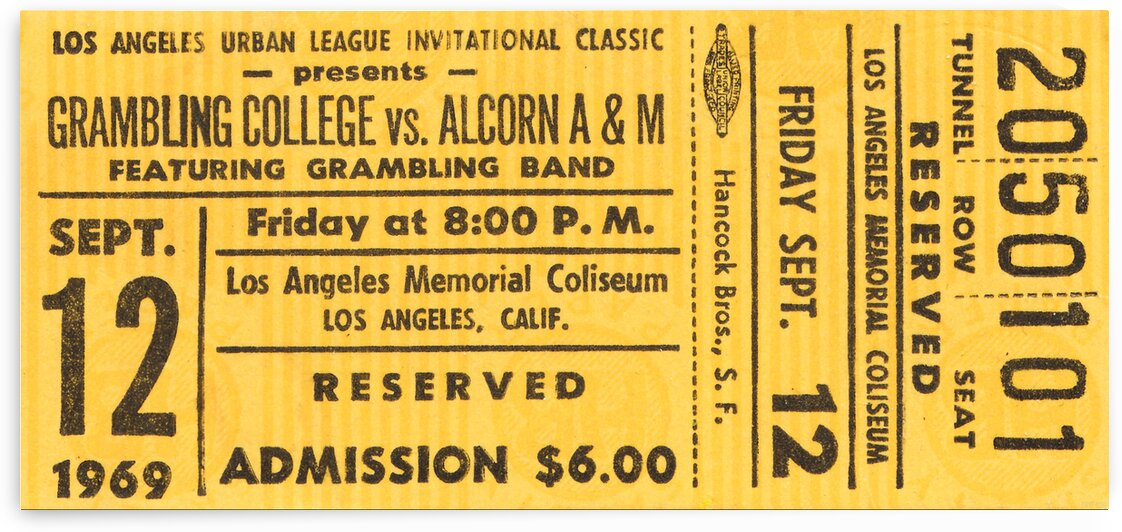1969 Grambling vs. Alcorn State Football Ticket Art by Row One Brand