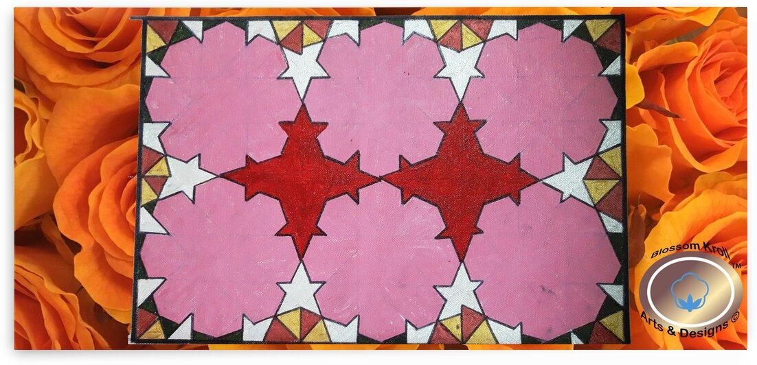 Islamic geoArt 20SidesRed orangerose background by Yasmin MUhammad Elias