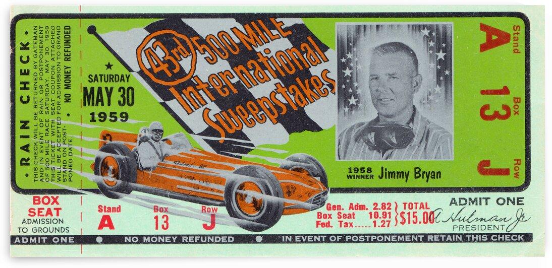 1959 Indy 500 Ticket Stub Art by Row One Brand