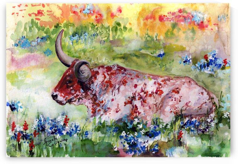 Texas Longhorn Blue Bonnets  by Ginette Fine Art