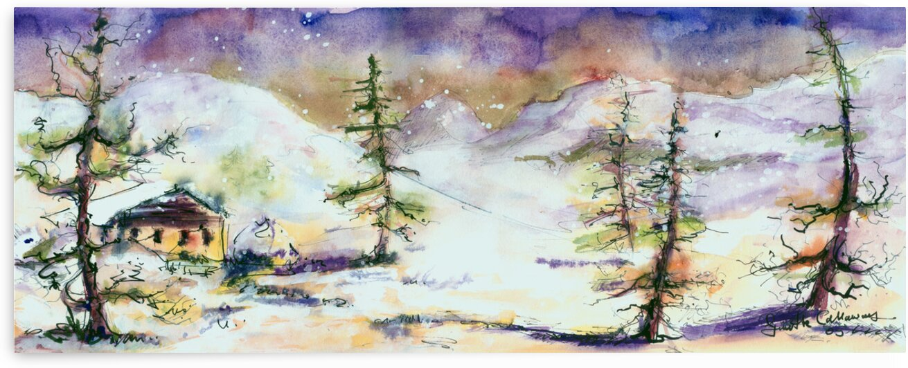 Cabin In The Snow  by Ginette Fine Art