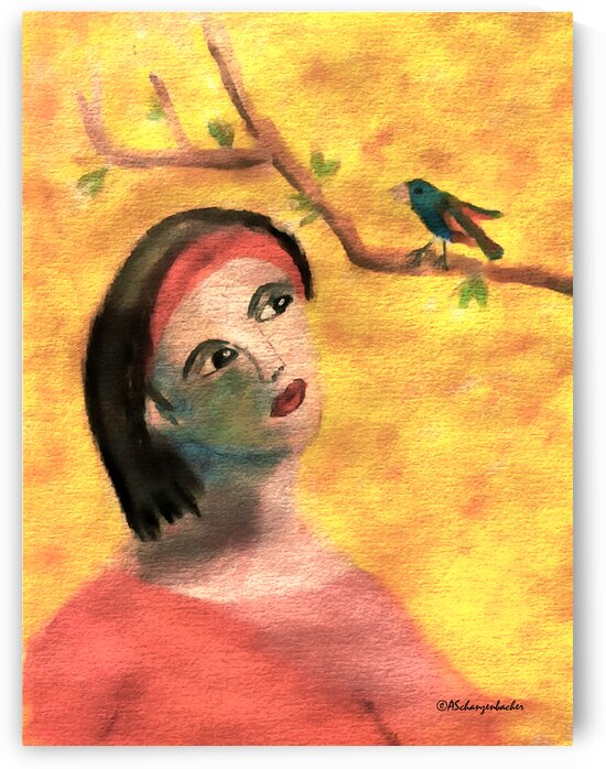 Spring and the Lady in Red by Aurelia Schanzenbacher Sisters Fine Arts