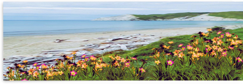 Blooming irises on the seashore. by Ievgeniia Bidiuk