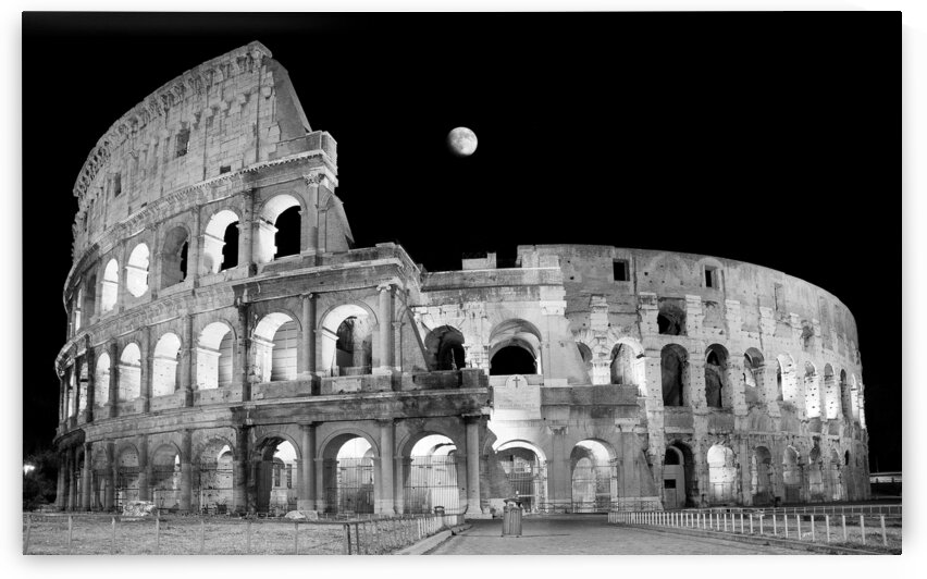 Ancient Rome in Black and White - Roman Colosseum at night by Stefano Senise Photography