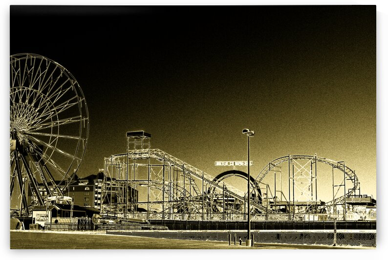 deserted amusement pier oc painted gold 1274 by Ocean City Art Gallery