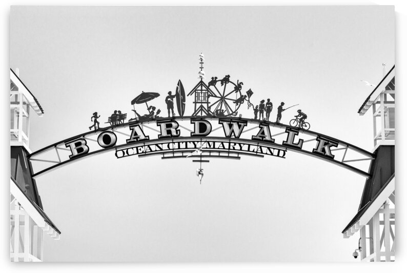 boardwalk arch full black and white one 7003 by Ocean City Art Gallery