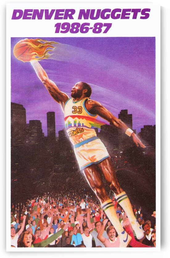 1986 Denver Nuggets Retro Basketball Poster by Row One Brand