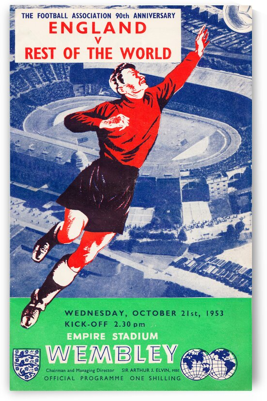 1953 England versus the World Association Football Poster by Row One Brand