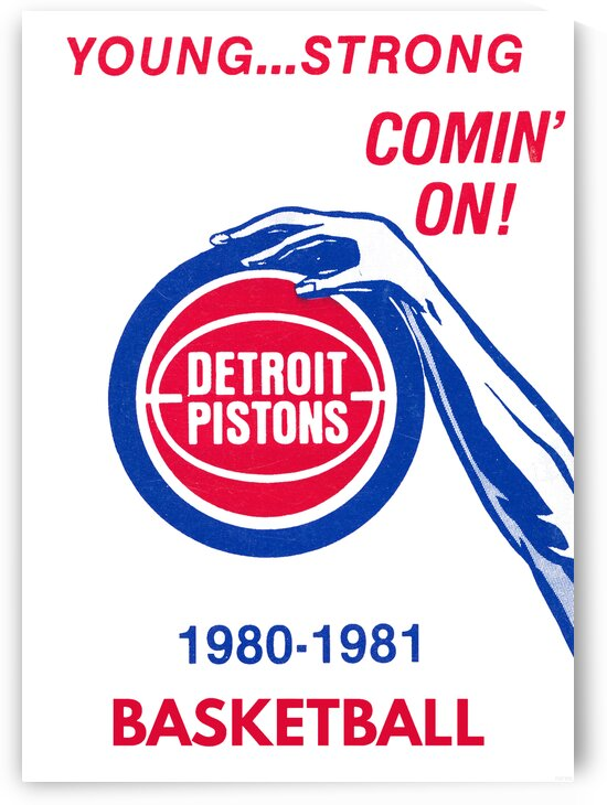 1980 Detroit Pistons Basketball Poster by Row One Brand