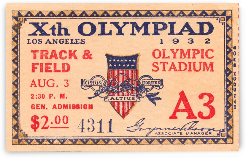 1932 Olympics Track & Field Ticket Stub by Row One Brand