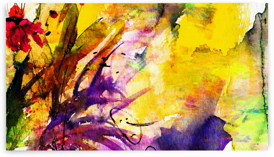 Intuitive Abstract Yellow Floral by Ginette Fine Art