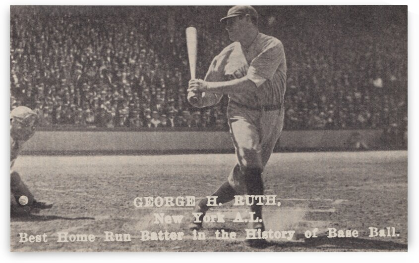 1922 Babe Ruth Home Run Swing Photo Art by Row One Brand