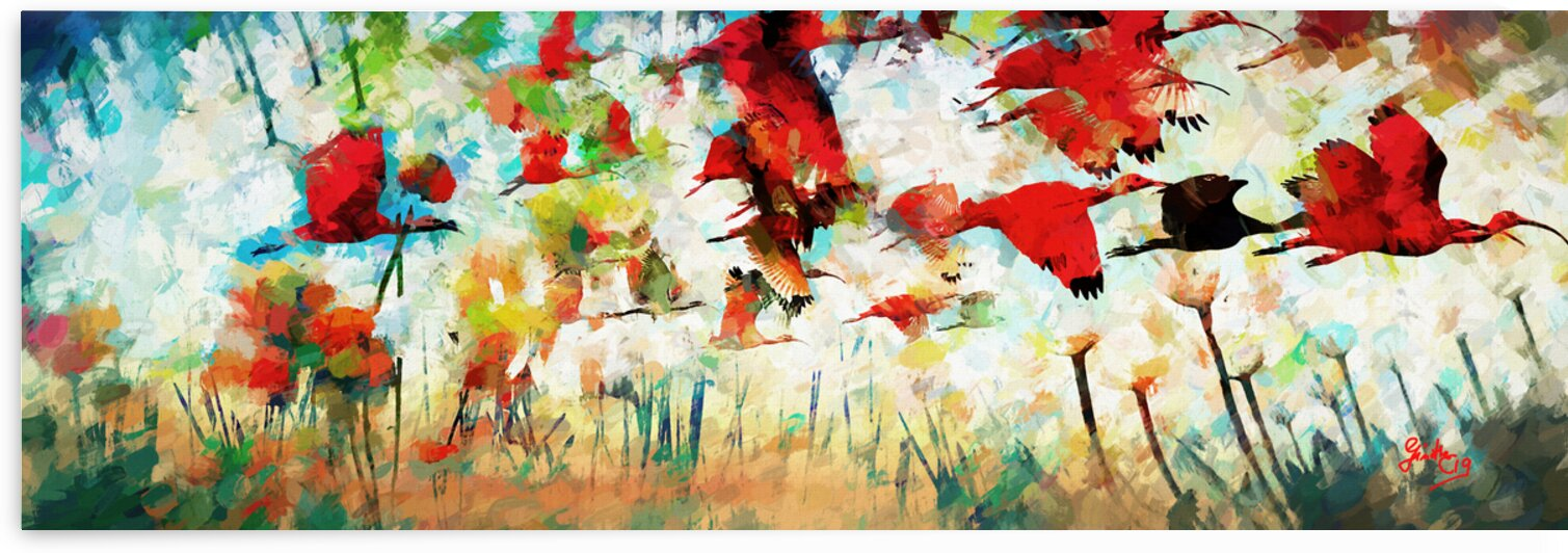 Abstract Red Ibis Fantasy by Ginette Fine Art