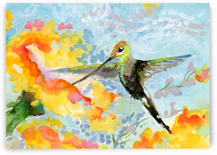 Hummingbird Pastel Colors  by Ginette Fine Art