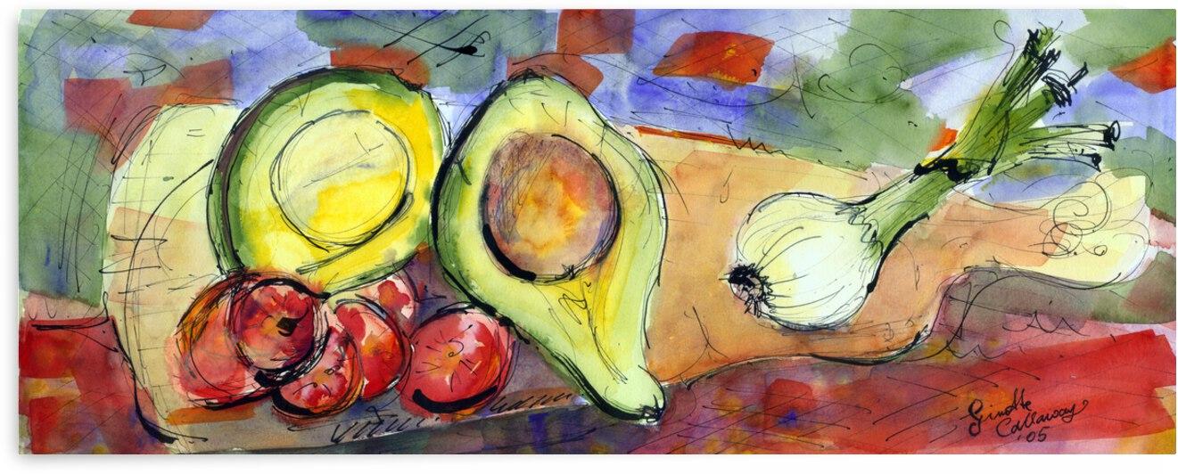 Food Art Onions Avocado  by Ginette Fine Art