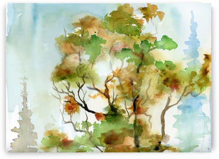 Abstract Autumn Trees 3  by Ginette Fine Art