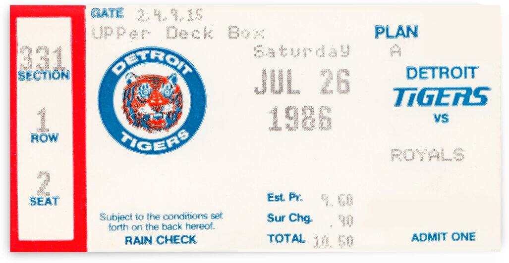 1986 Detroit Tigers Ticket Wall Art by Row One Brand