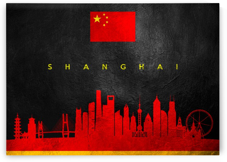 Shanghai China Skyline Wall Art by ABConcepts
