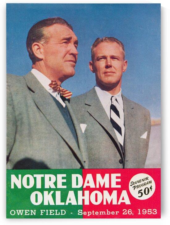 1953 Oklahoma vs. Notre Dame Football Program Cover Art by Row One Brand
