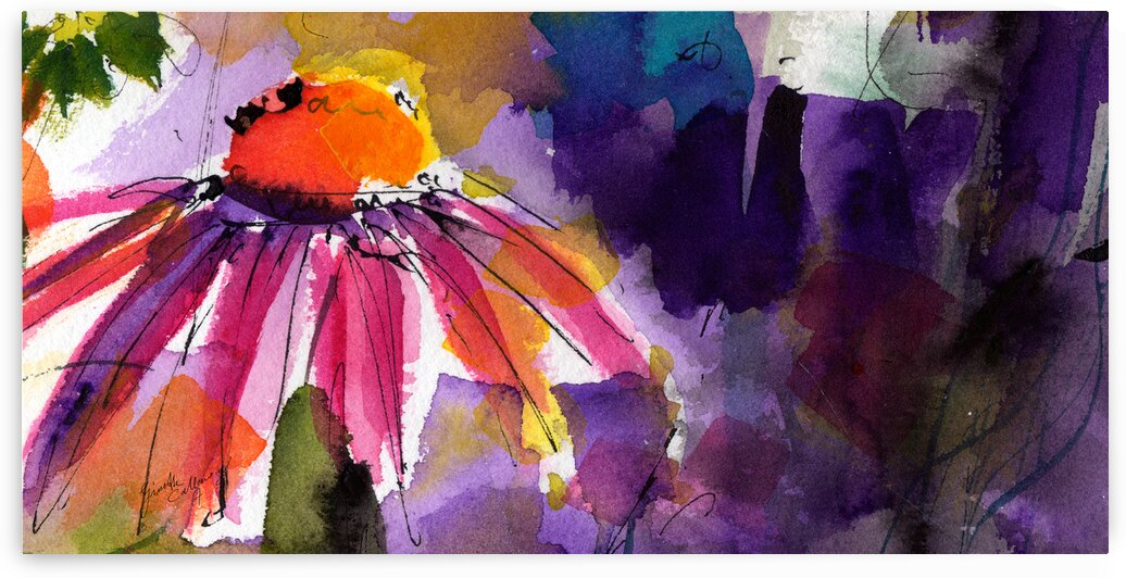 Modern Floral Echinacea Watercolor 2 by Ginette Fine Art