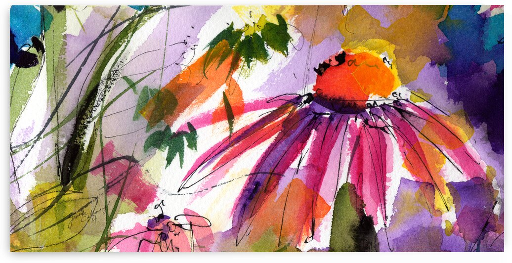 Modern Floral Echinacea Watercolor by Ginette Fine Art
